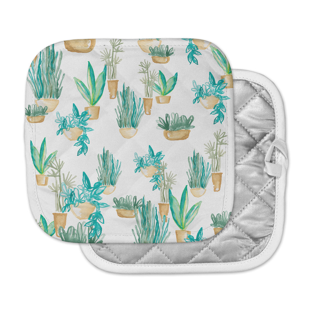 "Danii Pollehn ""House Plants"" Green White Illustration Pot Holder"