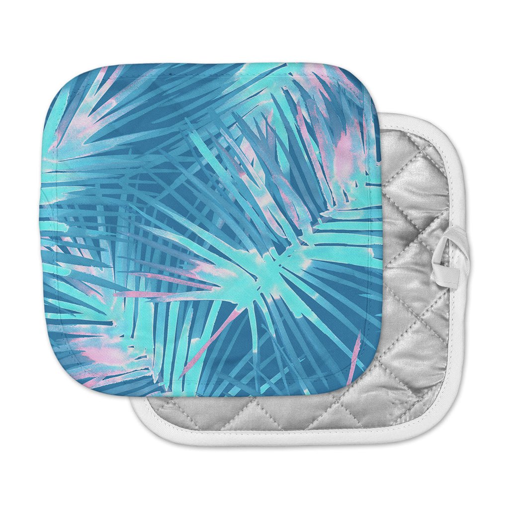 "Danii Pollehn ""Neon Tropical"" Blue Pink Illustration Pot Holder"
