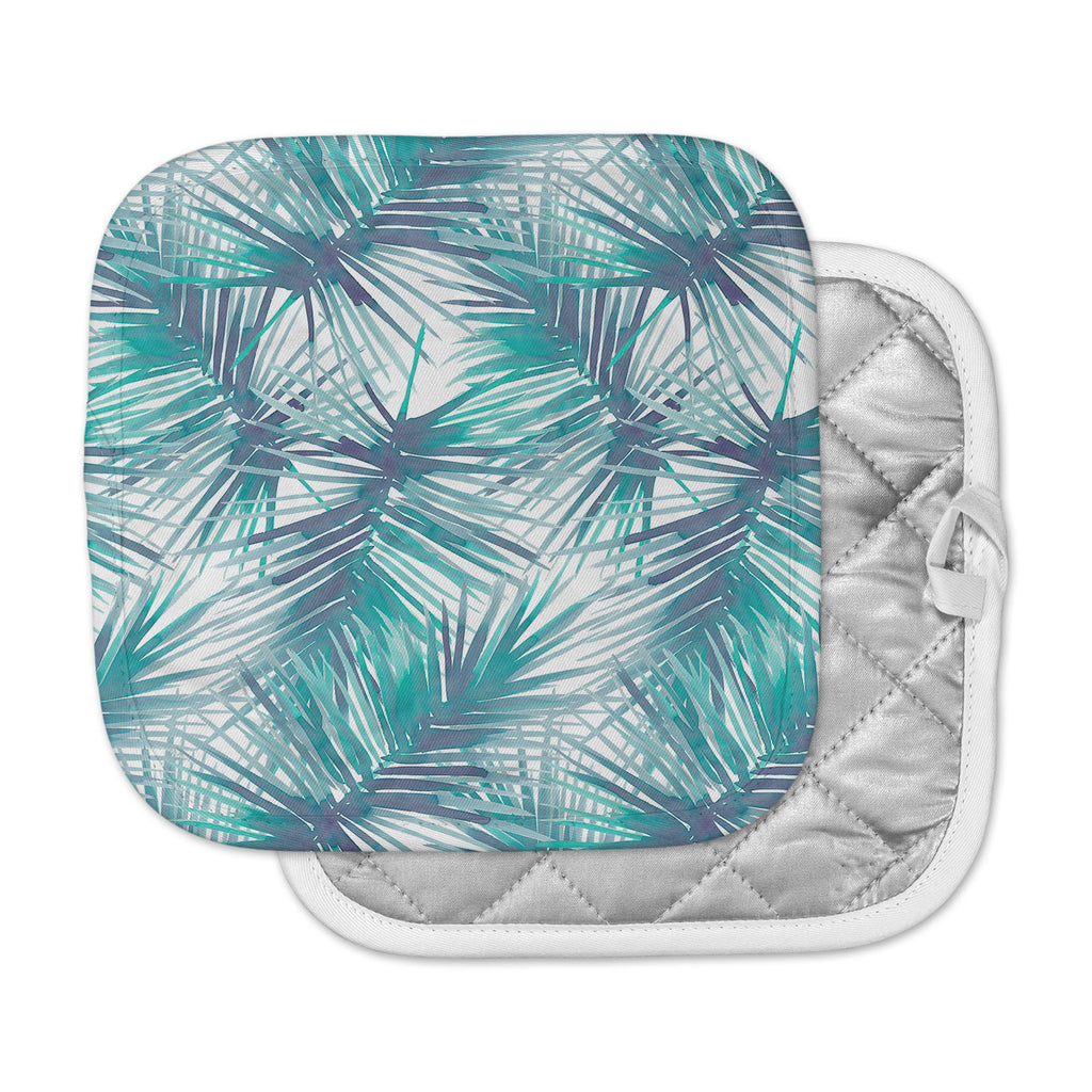 "Danii Pollehn ""Palm Tree Branches"" Blue Green Illustration Pot Holder"
