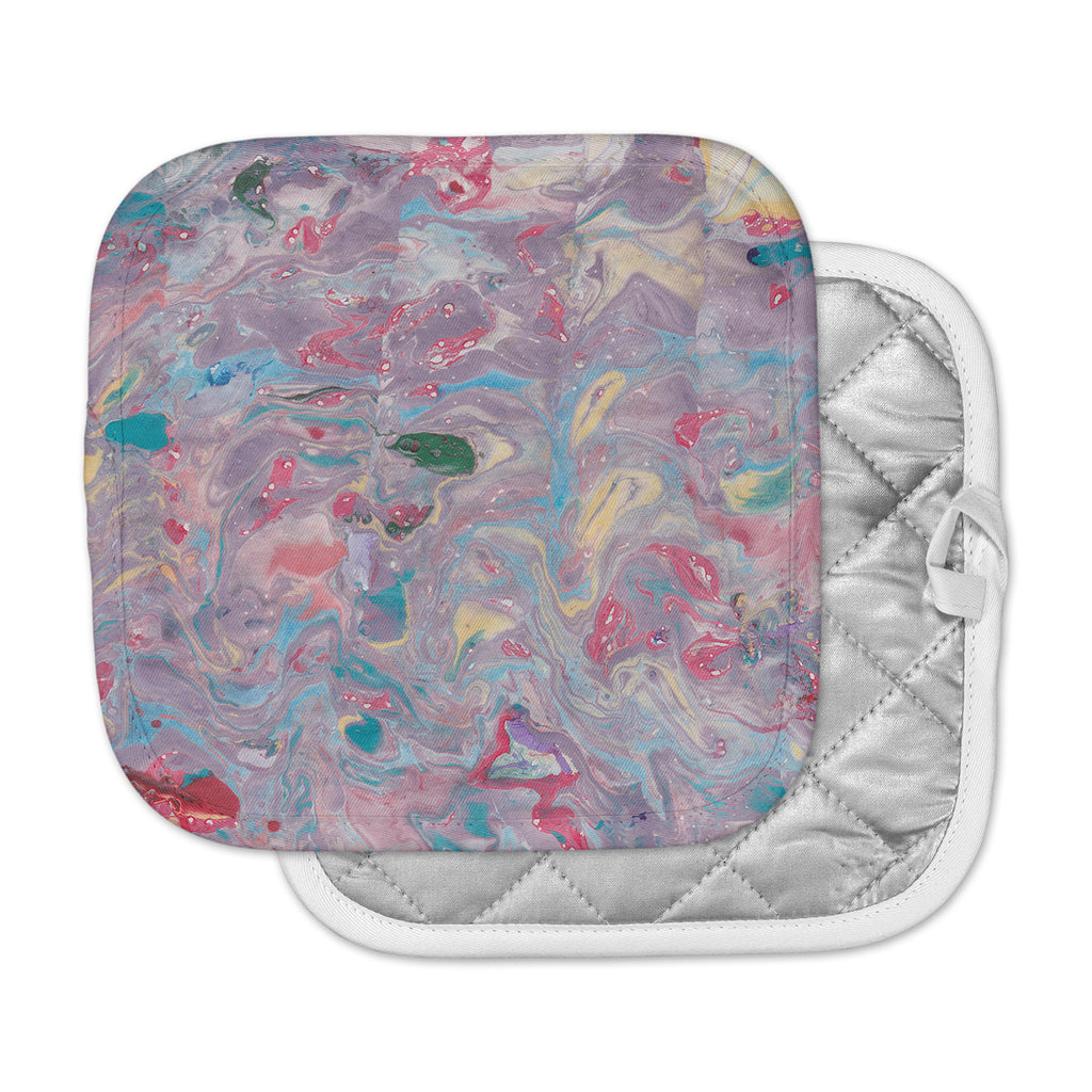 "Danii Pollehn ""Pink Marble"" Purple Pink Painting Pot Holder"