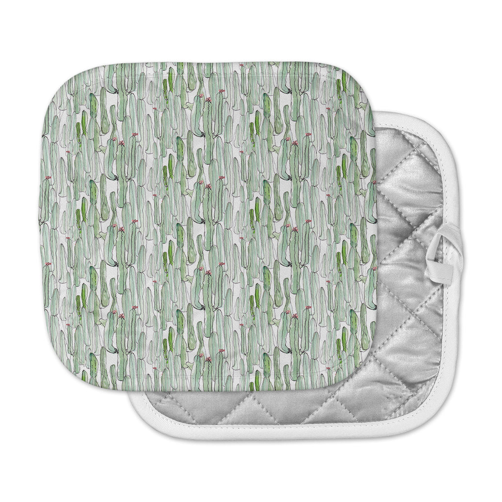 "Danii Pollehn ""Cacti"" Green White Illustration Pot Holder"