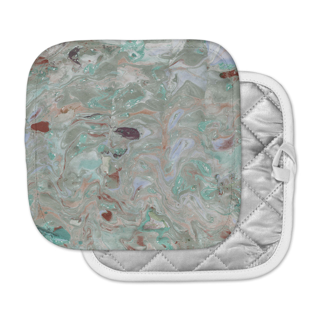 "Danii Pollehn ""Nude Marble"" Gray Green Watercolor Pot Holder"