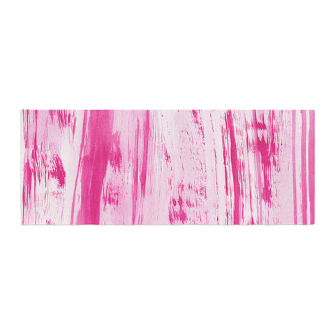 "Danii Pollehn ""Pink Stripes"" Pink White Watercolor Bed Runner"