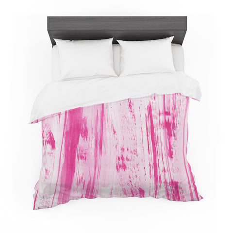 "Danii Pollehn ""Pink Stripes"" Pink White Watercolor Featherweight Duvet Cover"