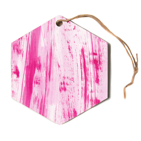"Danii Pollehn ""Pink Stripes""  Hexagon Holiday Ornament"