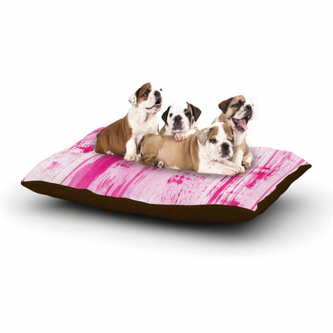 "Danii Pollehn ""Pink Stripes"" Pink White Watercolor Dog Bed"