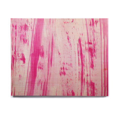 "Danii Pollehn ""Pink Stripes"" Pink White Watercolor Birchwood Wall Art - KESS InHouse  - 1"