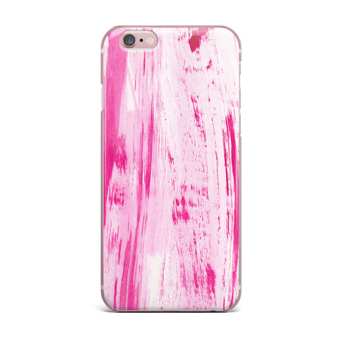 "Danii Pollehn ""Pink Stripes"" Pink White Watercolor iPhone Case"