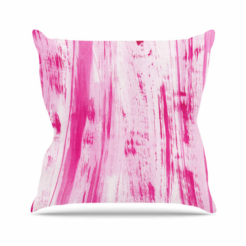 "Danii Pollehn ""Pink Stripes"" Pink White Watercolor Outdoor Throw Pillow"