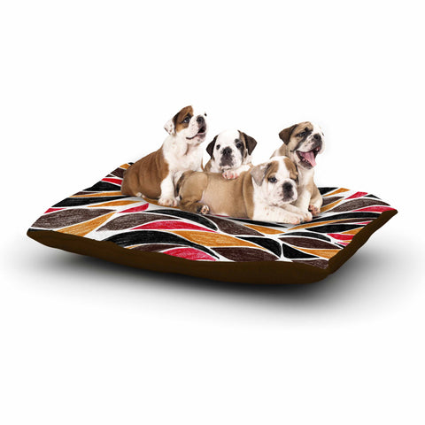 "Danii Pollehn ""SAFARI STRIPES"" Beige Red Animal Print Nature Illustration Painting Dog Bed"