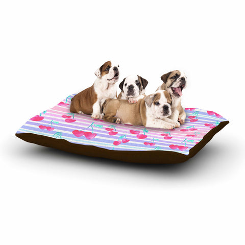 "Danii Pollehn ""Cherry Stripes"" Purple Yellow Contemporary Floral Digital Illustration Dog Bed"