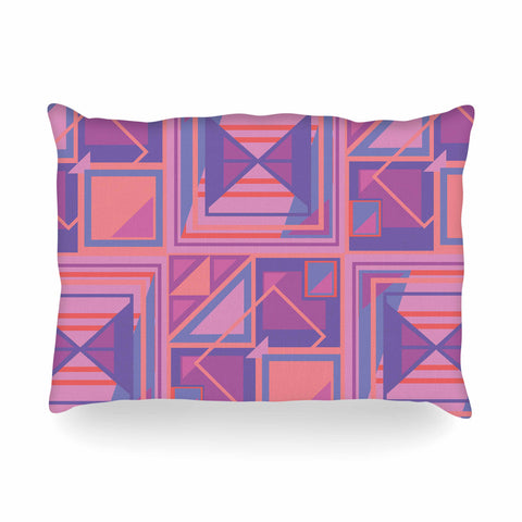 "Danii Pollehn ""PURPLE SQUARES"" Orange White Nature Modern Illustration Digital Oblong Pillow"