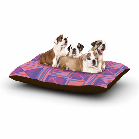 "Danii Pollehn ""PURPLE SQUARES"" Orange White Nature Modern Illustration Digital Dog Bed"