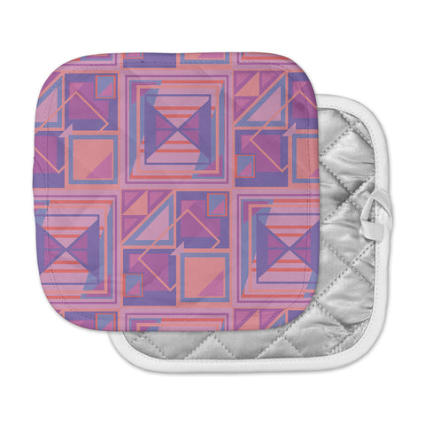 "Danii Pollehn ""PURPLE SQUARES"" Orange White Nature Modern Illustration Digital Pot Holder"