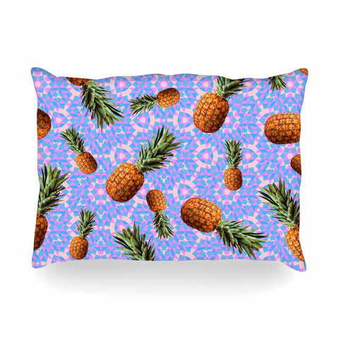 "Danii Pollehn ""PINEAPPLES"" Purple Orange Pattern Geometric Digital Mixed Media Oblong Pillow"