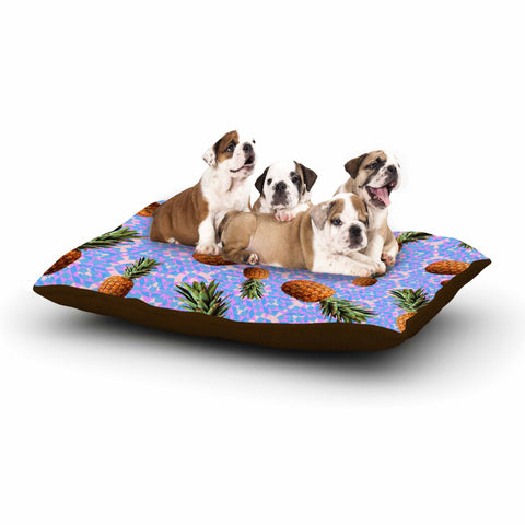 "Danii Pollehn ""PINEAPPLES"" Purple Orange Pattern Geometric Digital Mixed Media Dog Bed"