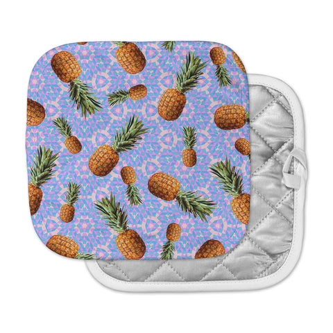 "Danii Pollehn ""PINEAPPLES"" Purple Orange Pattern Geometric Digital Mixed Media Pot Holder"