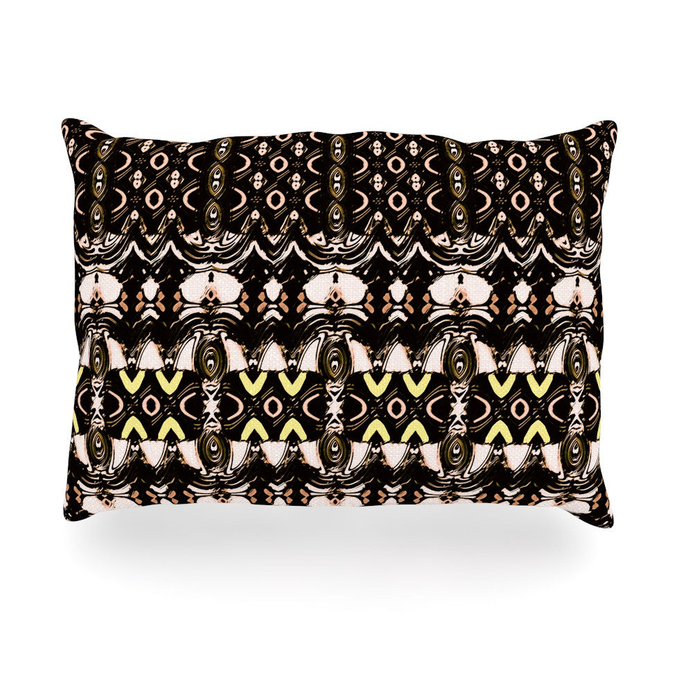 "Dawid Roc ""The Palace Walls"" Brown Black Oblong Pillow - KESS InHouse"