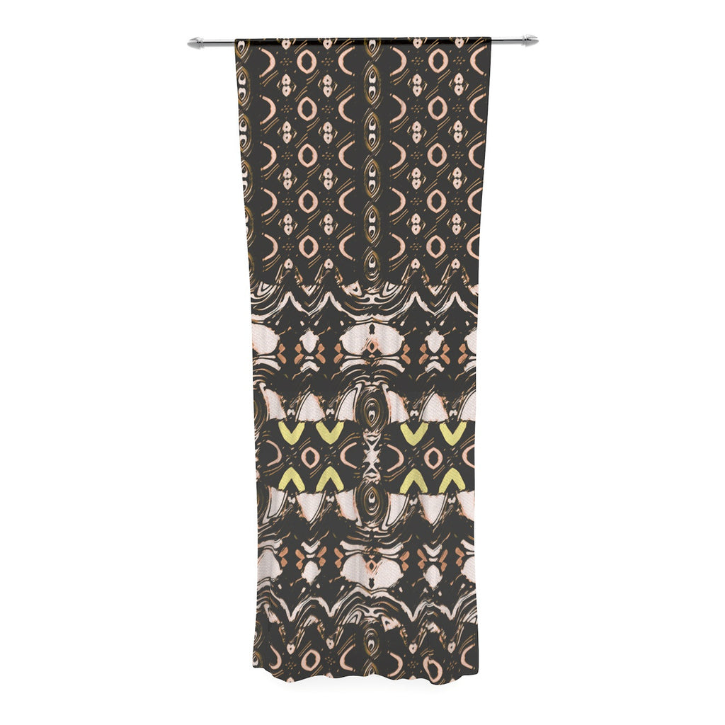 "Dawid Roc ""The Palace Walls"" Brown Black Decorative Sheer Curtain - KESS InHouse  - 1"