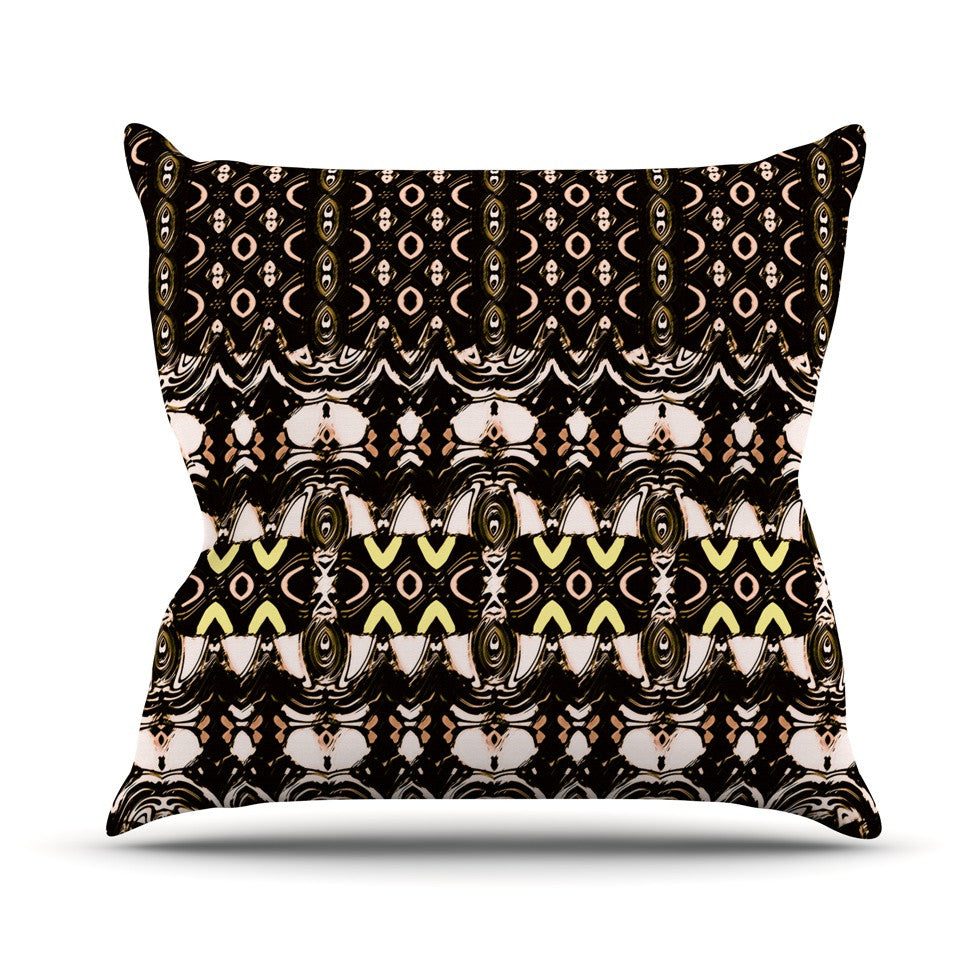 "Dawid Roc ""The Palace Walls"" Brown Black Outdoor Throw Pillow - KESS InHouse  - 1"