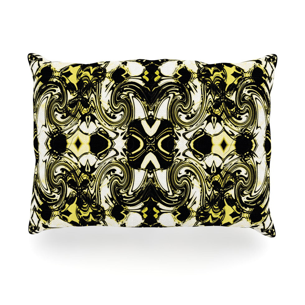 "Dawid Roc ""The Palace Walls II"" Yellow Black Oblong Pillow - KESS InHouse"