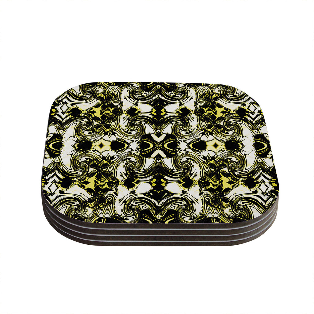 "Dawid Roc ""The Palace Walls II"" Yellow Black Coasters (Set of 4)"