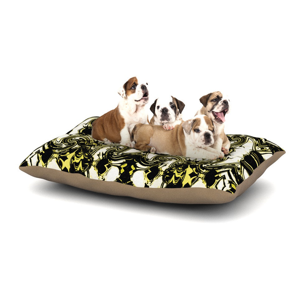 "Dawid Roc ""The Palace Walls II"" Yellow Black Dog Bed - KESS InHouse  - 1"