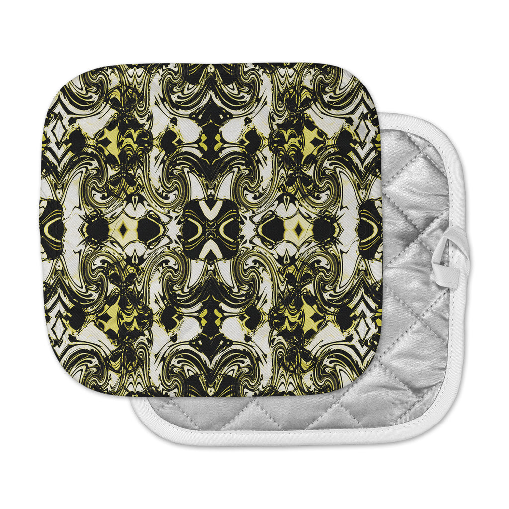 "Dawid Roc ""The Palace Walls II"" Yellow Black Pot Holder"