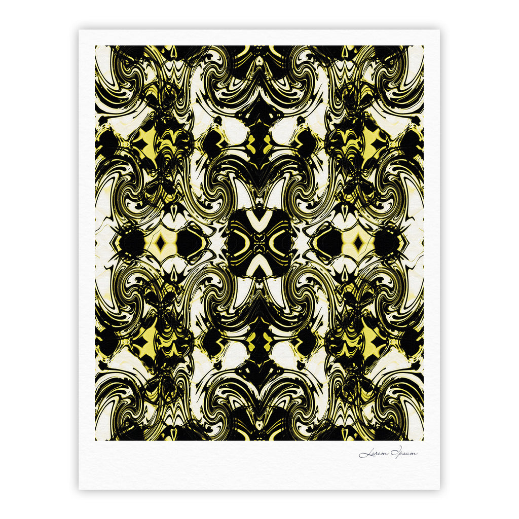 "Dawid Roc ""The Palace Walls II"" Yellow Black Fine Art Gallery Print - KESS InHouse"