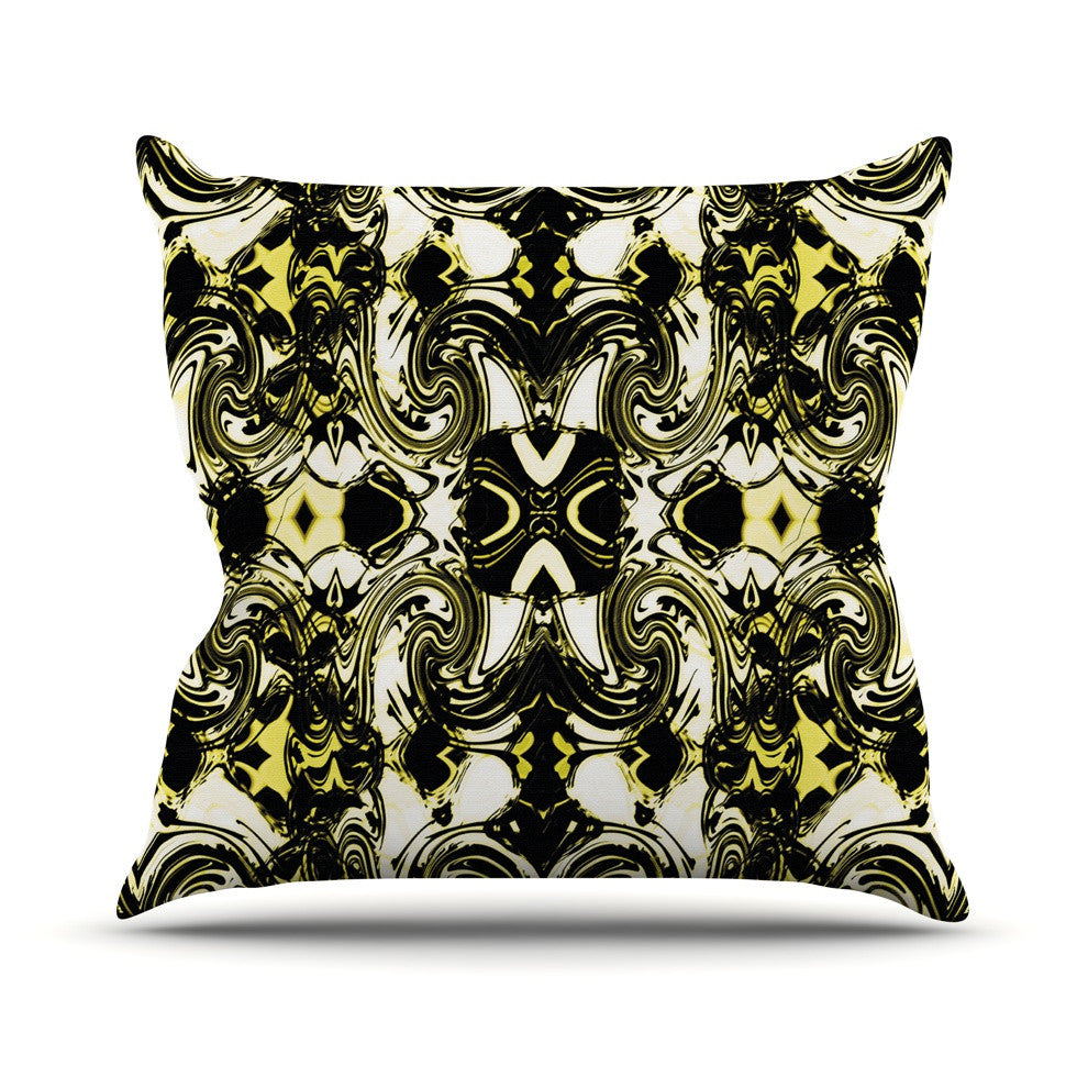 "Dawid Roc ""The Palace Walls II"" Yellow Black Outdoor Throw Pillow - KESS InHouse  - 1"