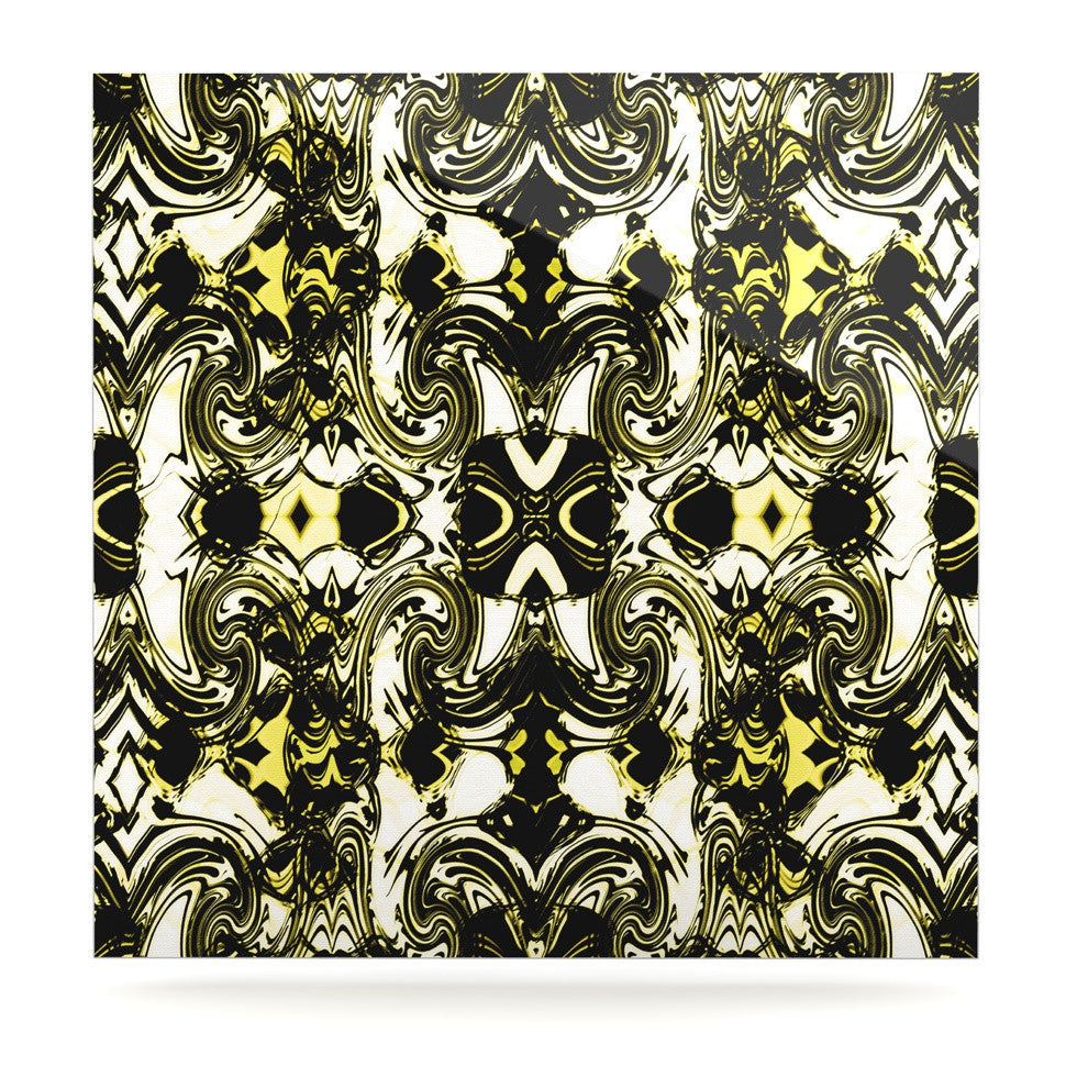 "Dawid Roc ""The Palace Walls II"" Yellow Black Luxe Square Panel - KESS InHouse  - 1"