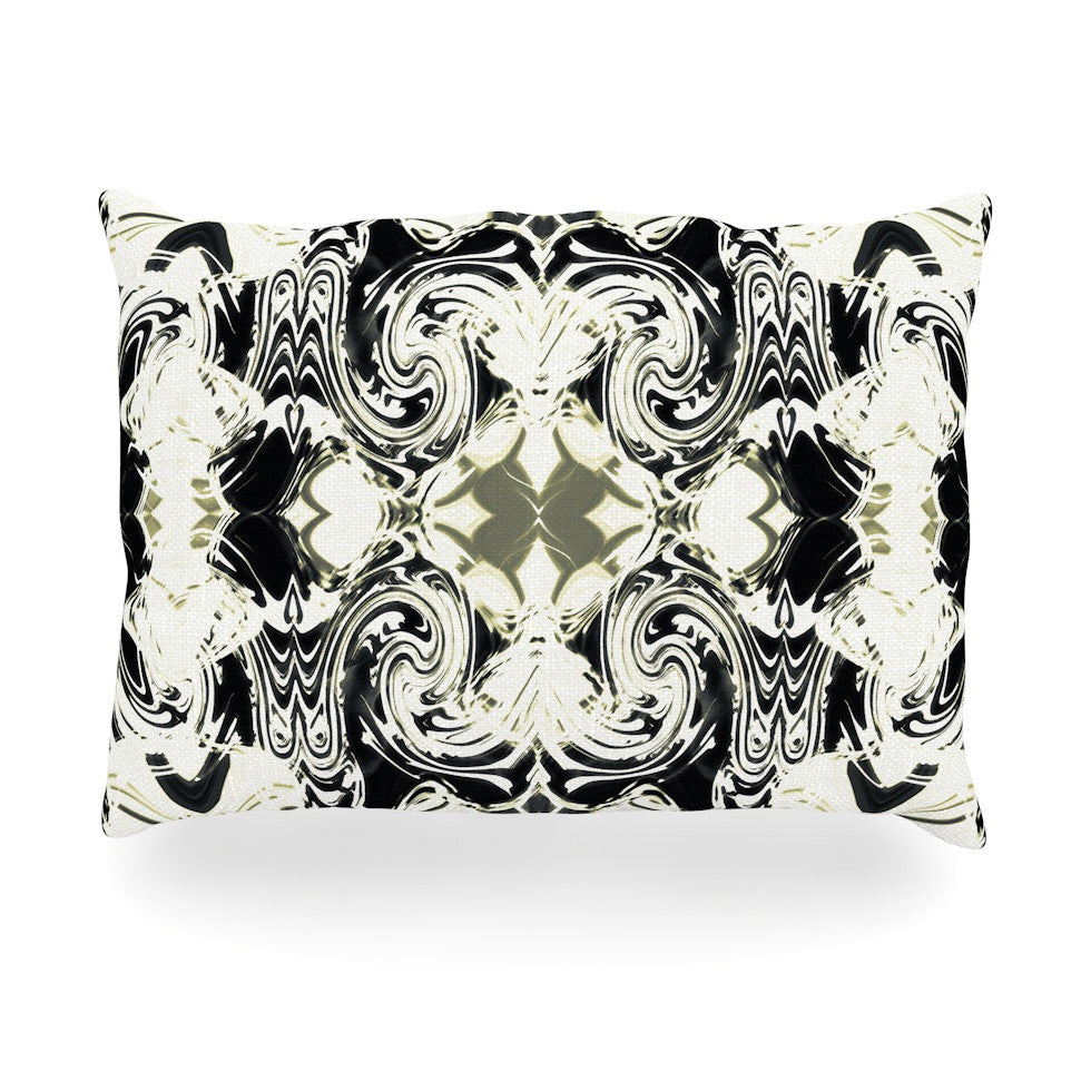 "Dawid Roc ""The Palace Walls III"" White Abstract Oblong Pillow - KESS InHouse"