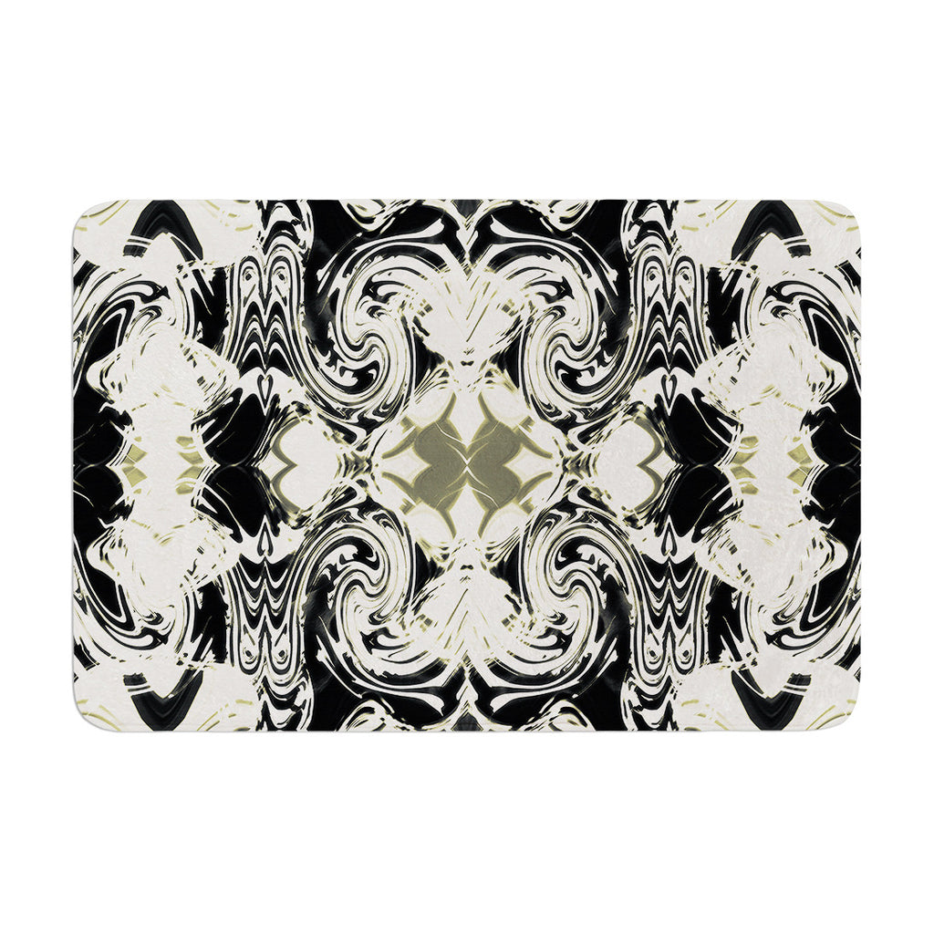 "Dawid Roc ""THe Palace Walls III"" White Abstract Memory Foam Bath Mat - KESS InHouse"