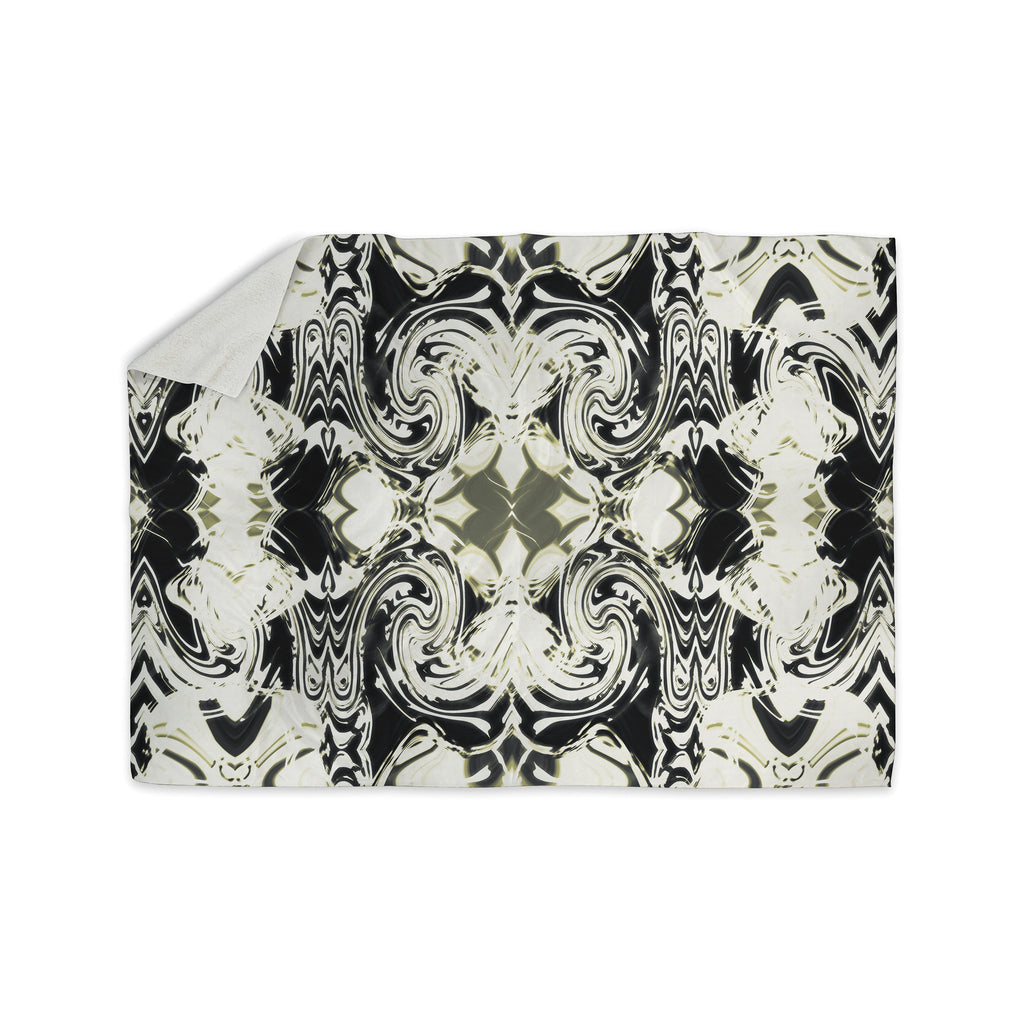 "Dawid Roc ""THe Palace Walls III"" White Abstract Sherpa Blanket - KESS InHouse  - 1"