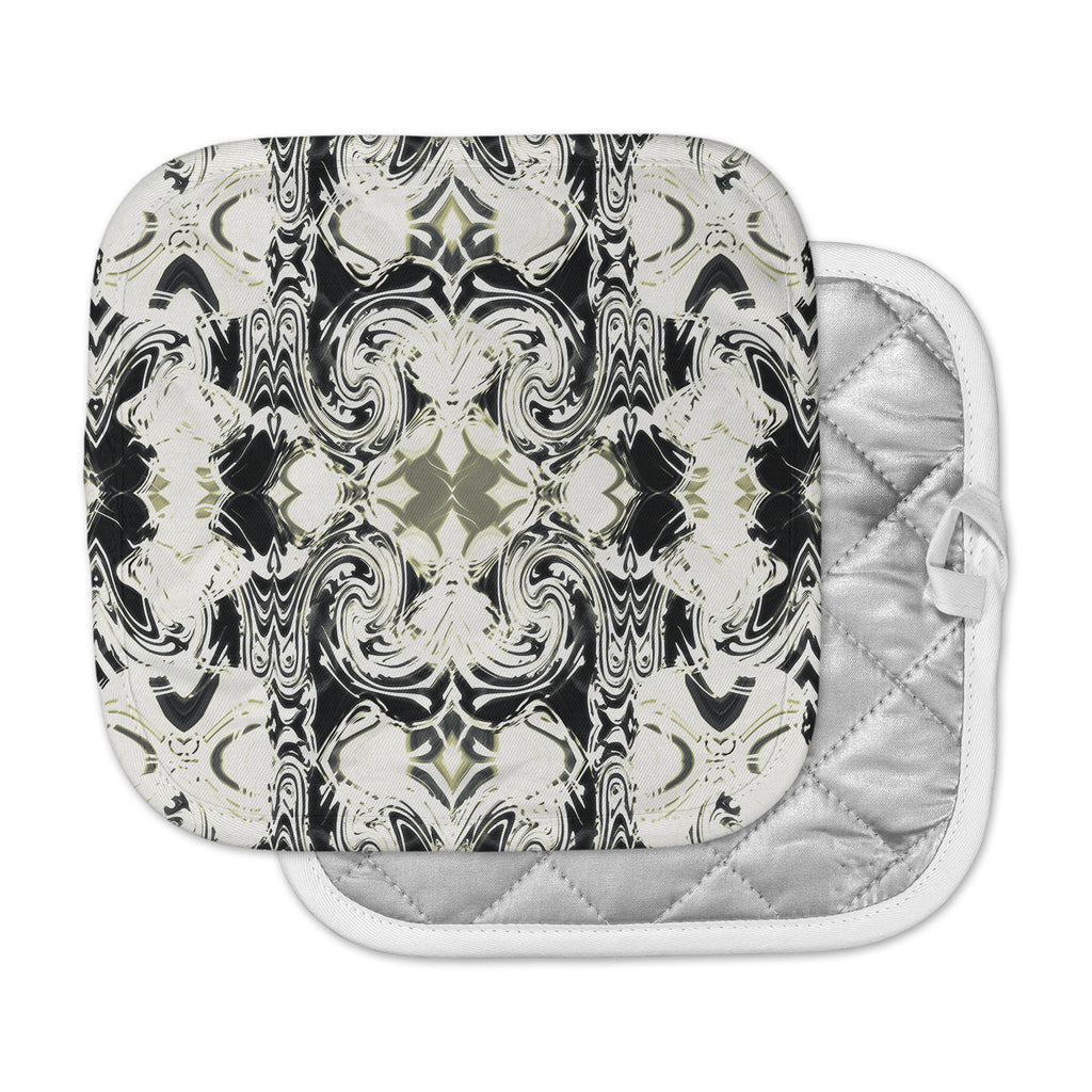 "Dawid Roc ""THe Palace Walls III"" White Abstract Pot Holder"