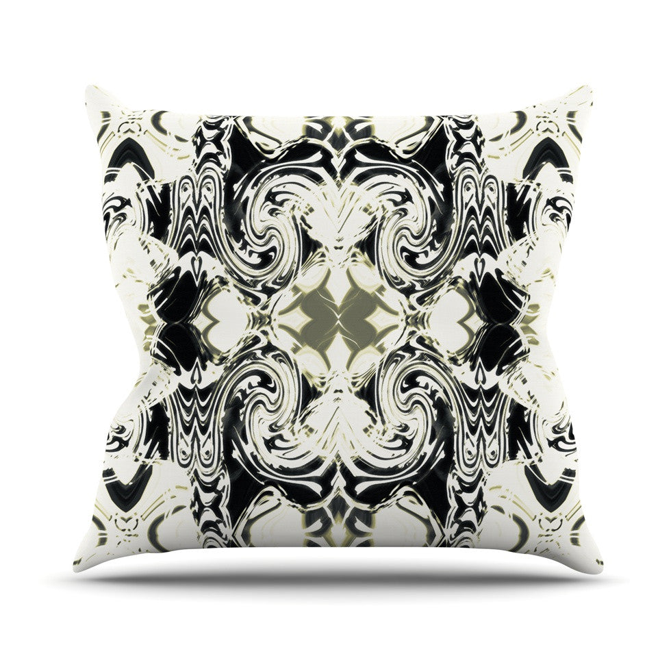 "Dawid Roc ""THe Palace Walls III"" White Abstract Outdoor Throw Pillow - KESS InHouse  - 1"