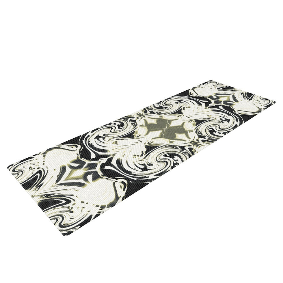 "Dawid Roc ""THe Palace Walls III"" White Abstract Yoga Mat - KESS InHouse  - 1"