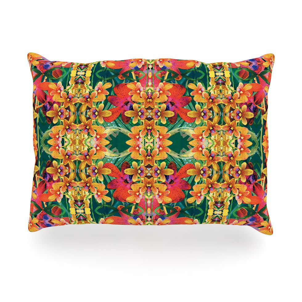 "Dawid Roc ""Tropical Floral"" Orange Pink Oblong Pillow - KESS InHouse"