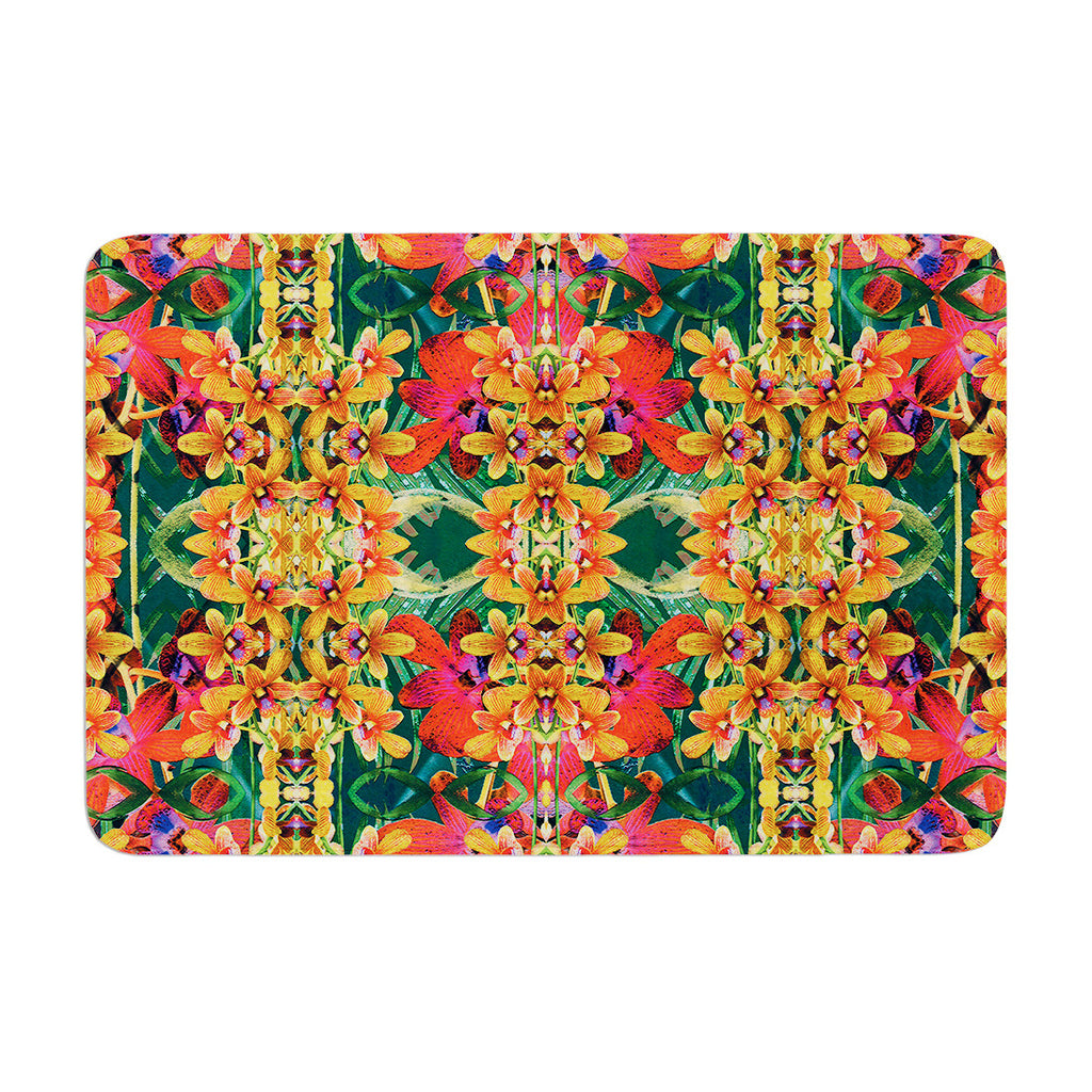 "Dawid Roc ""Tropical Floral"" Orange Pink Memory Foam Bath Mat - KESS InHouse"
