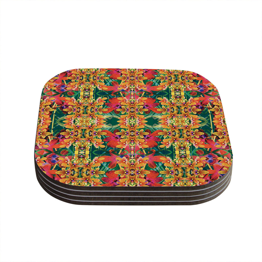 "Dawid Roc ""Tropical Floral"" Orange Pink Coasters (Set of 4)"