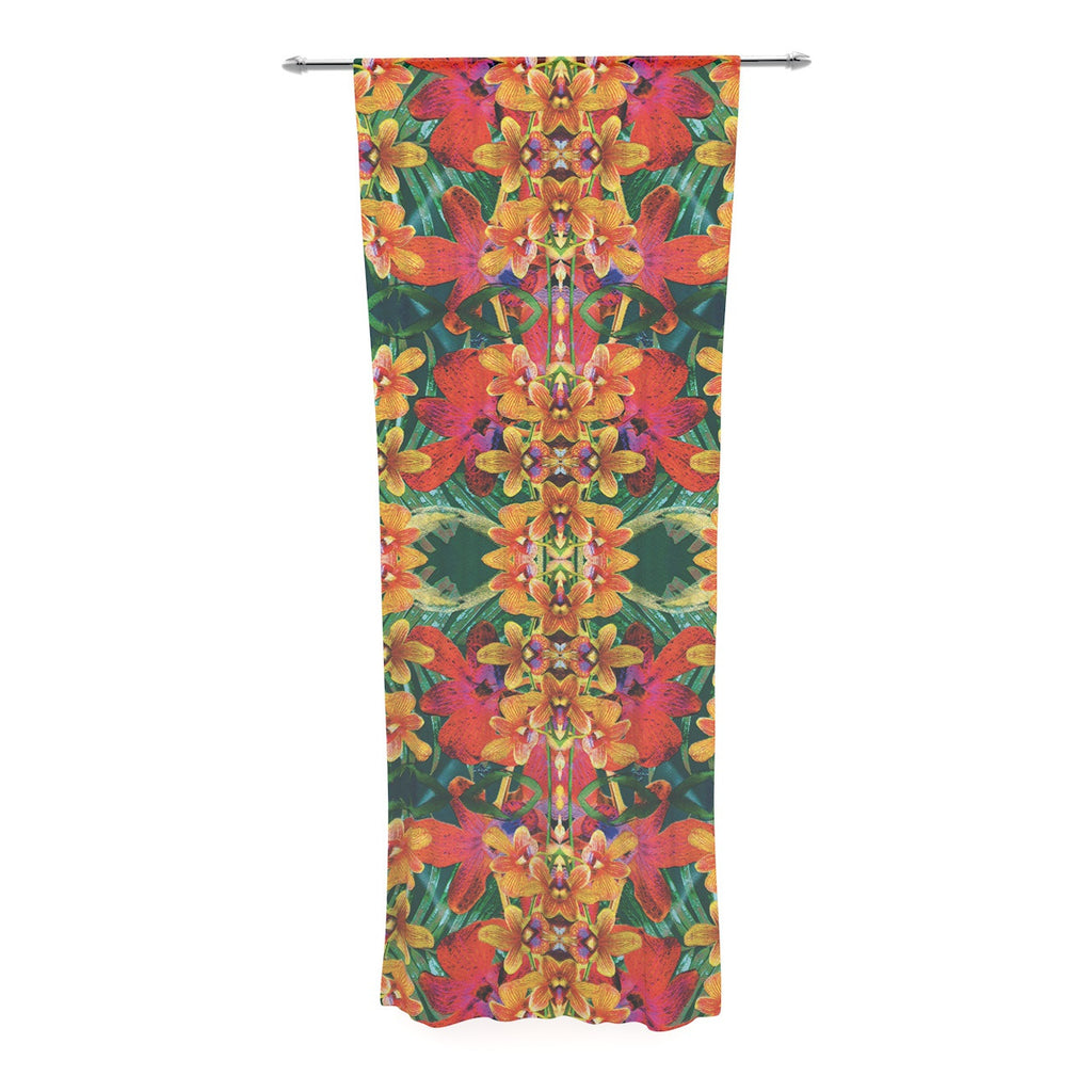 "Dawid Roc ""Tropical Floral"" Orange Pink Decorative Sheer Curtain - KESS InHouse  - 1"