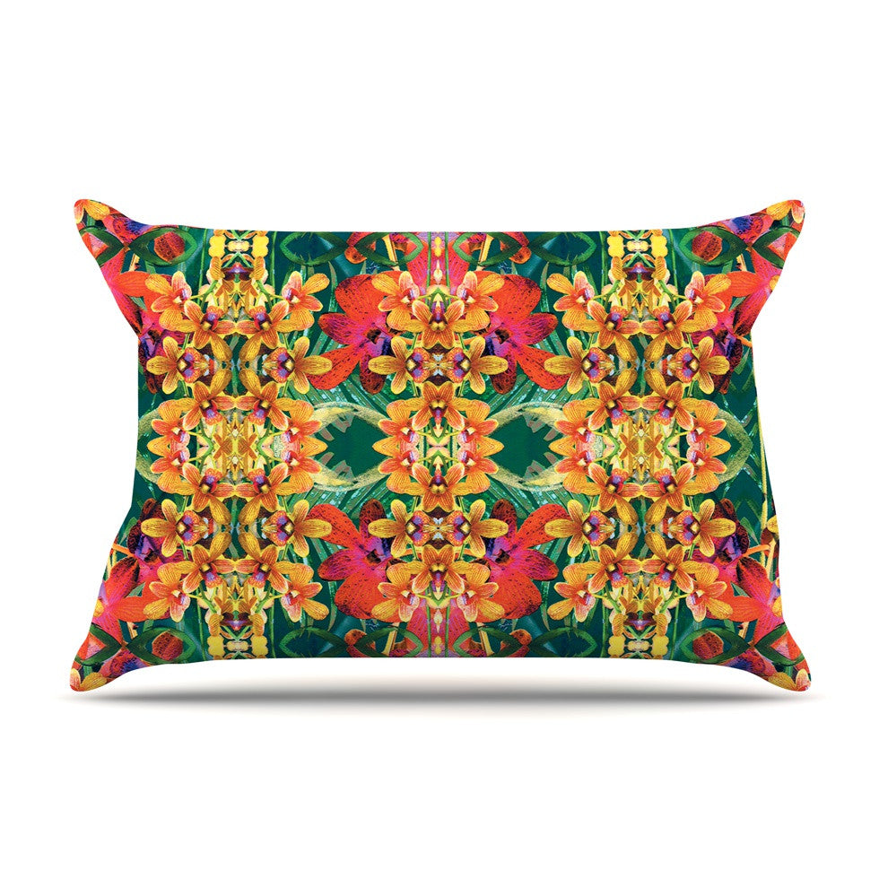 "Dawid Roc ""Tropical Floral"" Orange Pink Pillow Sham - KESS InHouse"