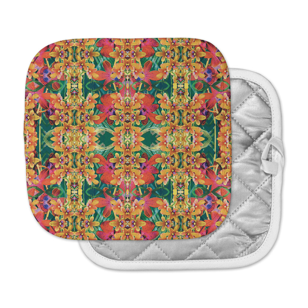 "Dawid Roc ""Tropical Floral"" Orange Pink Pot Holder"