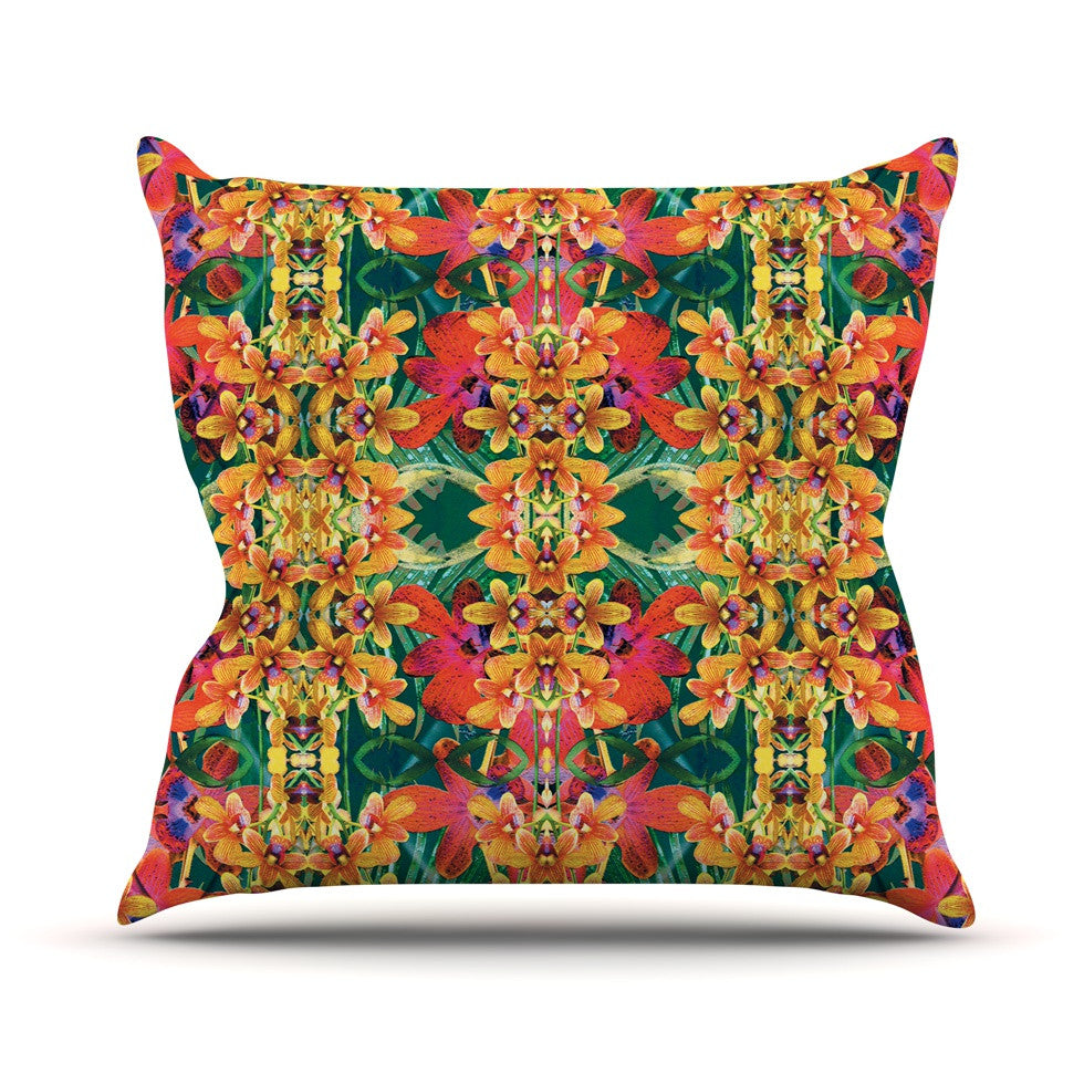"Dawid Roc ""Tropical Floral"" Orange Pink Outdoor Throw Pillow - KESS InHouse  - 1"