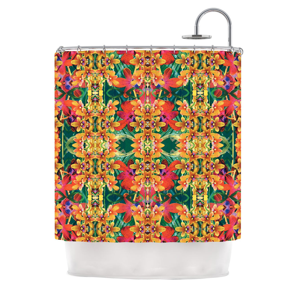 "Dawid Roc ""Tropical Floral"" Orange Pink Shower Curtain - KESS InHouse"