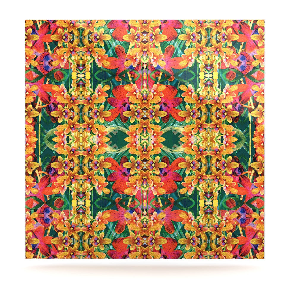 "Dawid Roc ""Tropical Floral"" Orange Pink Luxe Square Panel - KESS InHouse  - 1"
