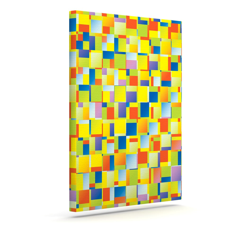 "Dawid Roc ""Multi Color Blocking"" Yellow Geometric Canvas Art - KESS InHouse  - 1"