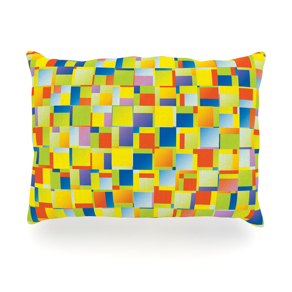 "Dawid Roc ""Multi Color Blocking"" Yellow Geometric Oblong Pillow - KESS InHouse"