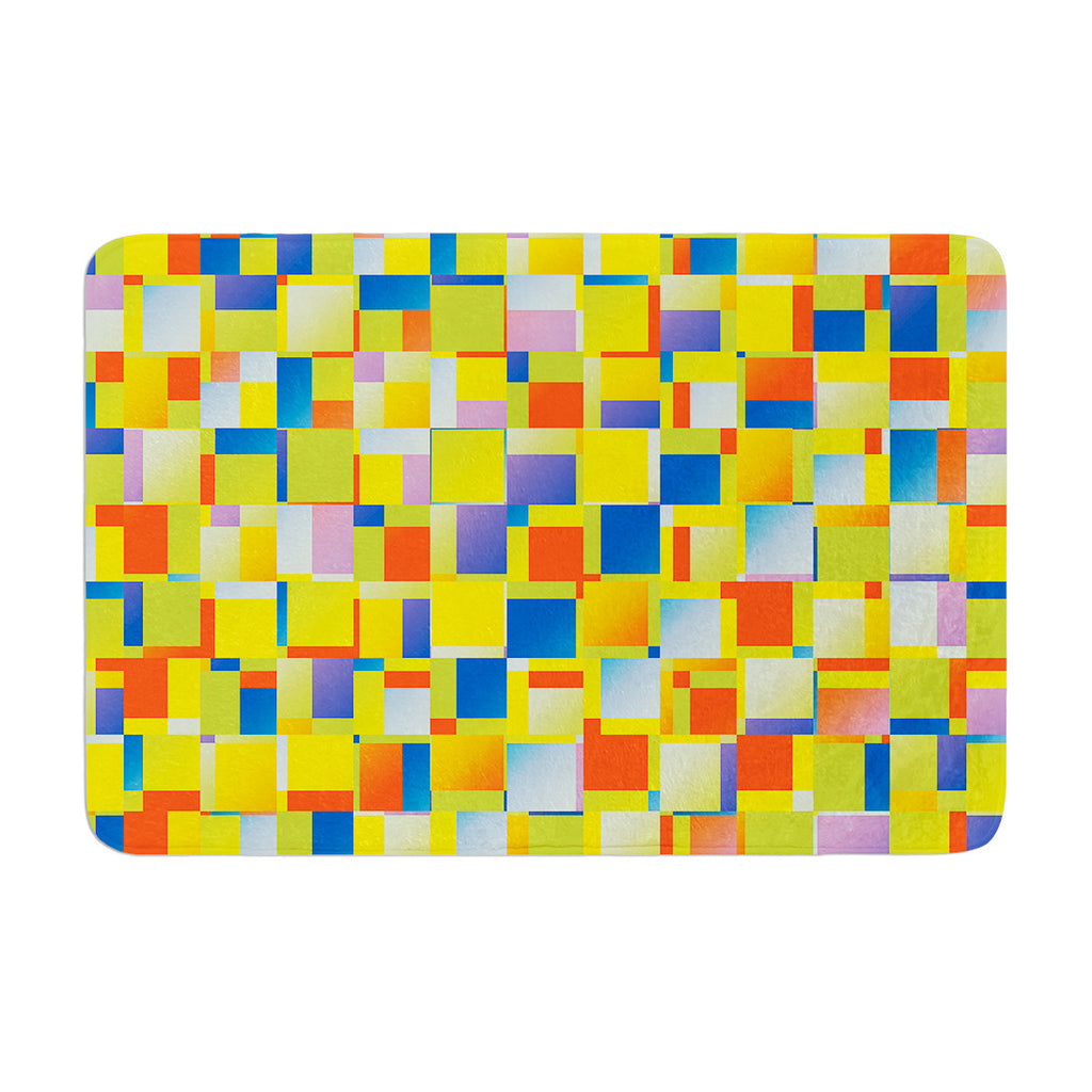 "Dawid Roc ""Multi Color Blocking"" Yellow Geometric Memory Foam Bath Mat - KESS InHouse"