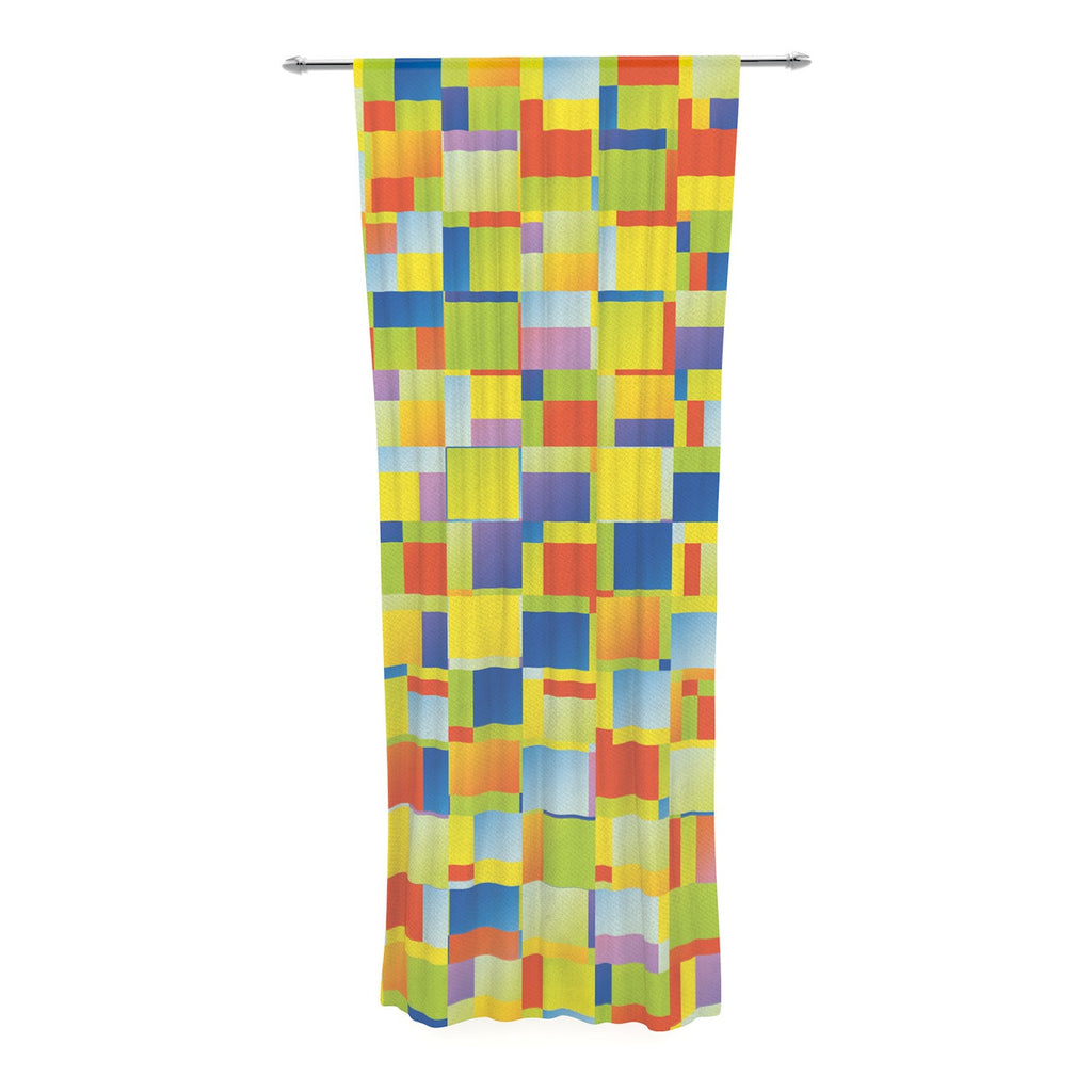 "Dawid Roc ""Multi Color Blocking"" Yellow Geometric Decorative Sheer Curtain - KESS InHouse  - 1"